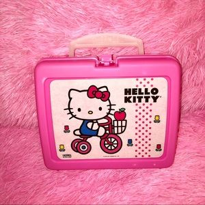 90's VINTAGE HELLO KITTY THERMOS PLASTIC LUNCH BOX
